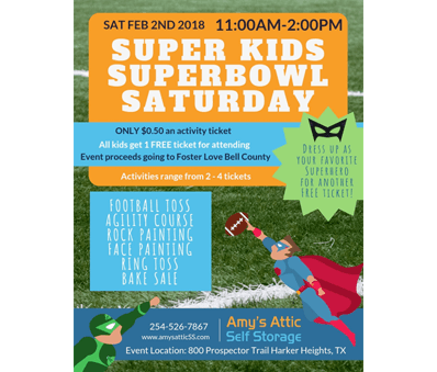Super Kids Superbowl Saturday Event in Harker Heights, TX - Amys Attic